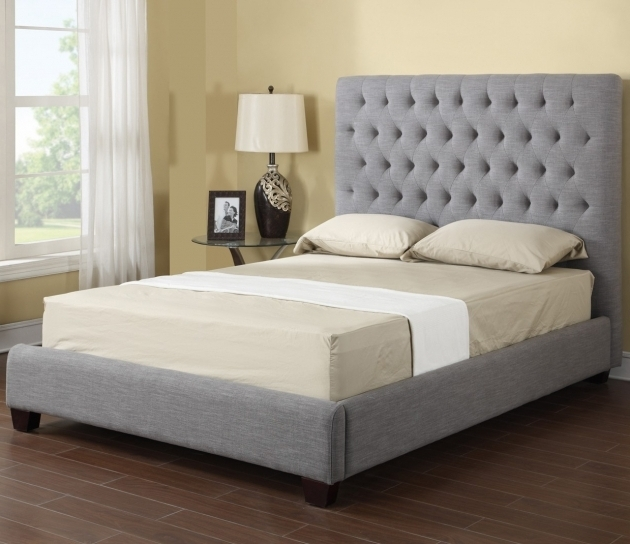 Sophia Fabric Grey Upholstered Platform Bed Photos 01