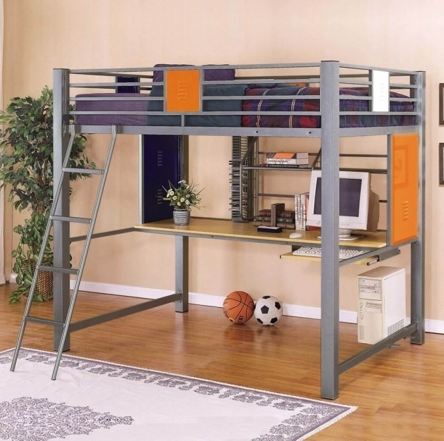 Stylish Full Size Metal Loft Bed With Desk Traditional Rug Picture 75