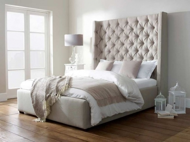Tall Upholstered Headboard And Footboard Set With Nail Heads  Images 79