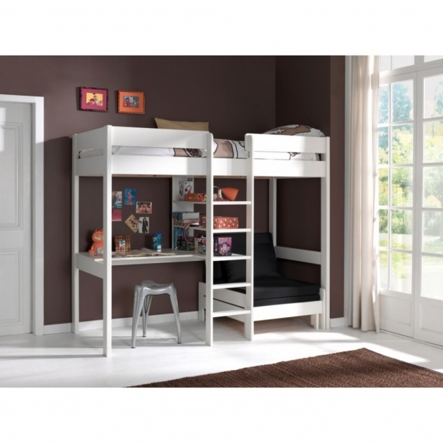 White Color Bunk Bed With Table Underneath Desk Images 48