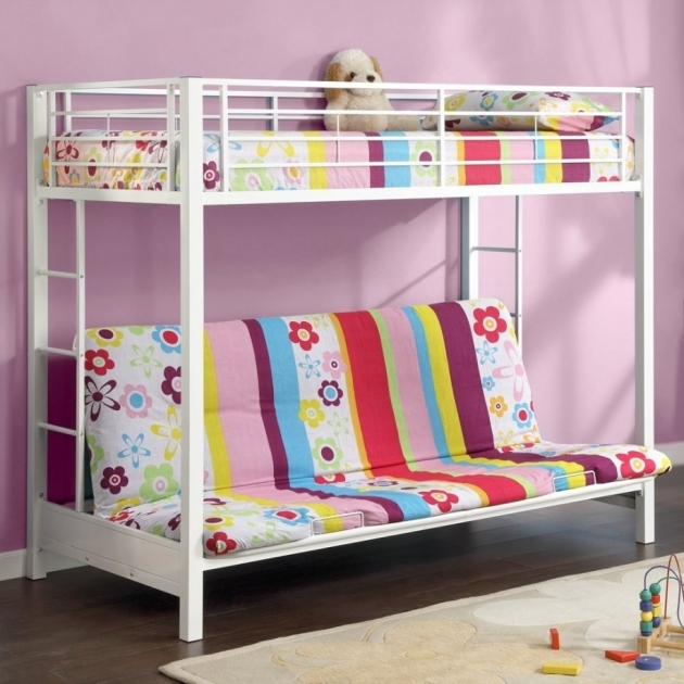 Wonderful White Iron Cool Bunk Beds For Kids Design Inspiration In Lavender Painted Wall Kids Room Images 77