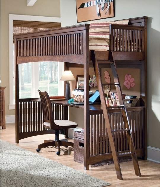 Wood Bunk Bed With Table Underneath Image 76