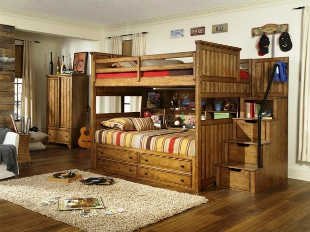 Wooden Twin Bunk Beds With Stairs Picture 65