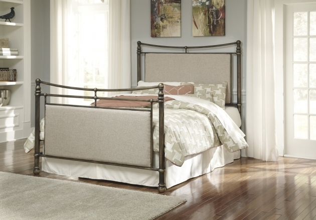 Ashley Furniture Metal Beds Cushioned Panel Bed In Copper Image 25