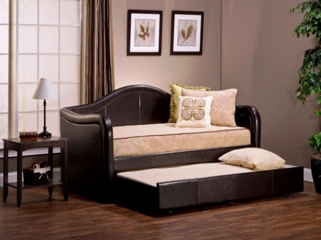 Black Daybeds With Pop Up Trundle Ideas With Cream Mattress On Wooden Floor Picture 82