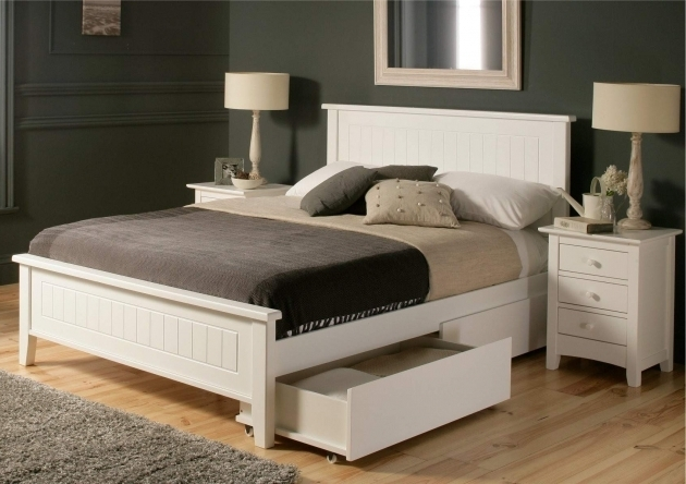 Furniture Wooden Twin Storage Platform Bed Queen Size With Storage Drawer White Pictures 64