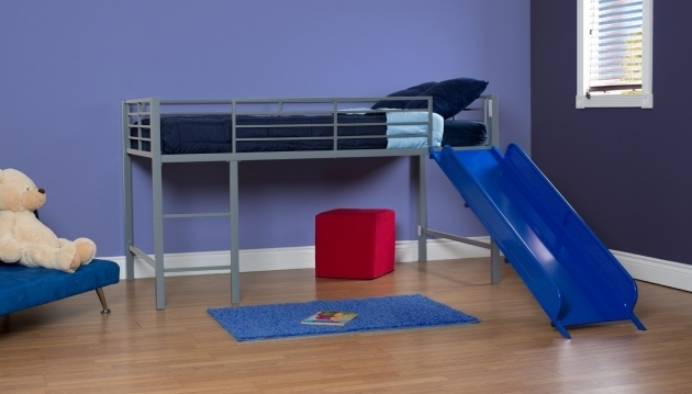 Metal Loft Bed With Slide Silver With Blue Slide Images 31