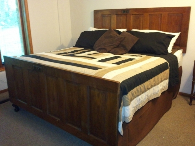 Reclaimed Headboard Made From A Door And Footboard Picture 87