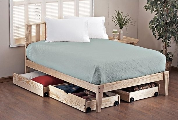 Twin Platform Bed Frame With Storage Design Photo 97