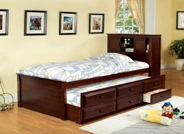 Twin Platform Bed Frame With Storage Drawers Child  Image 92