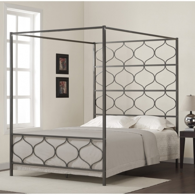 Assemble Full Size Metal Canopy Bed Frame Queen Image 65