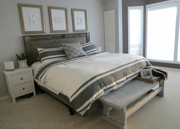 Bedroom Makeover Gray Wood Headboard Photos 15