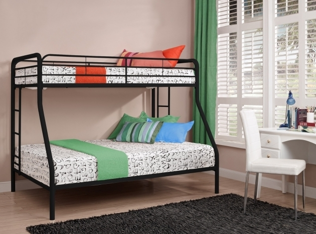 Black Twin Over Full Bunk Bed With Mattress Included Small Bedroom Furniture Picture 15