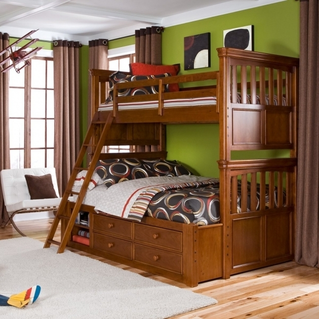 Brown Wooden Full Over Queen Bunk Bed With Stairs And Drawers As Well As Shelves Photos 89