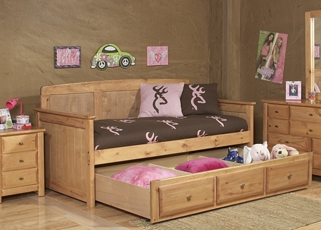 Brown Wooden Rustic Daybed With Trundle And Drawers Photos 60