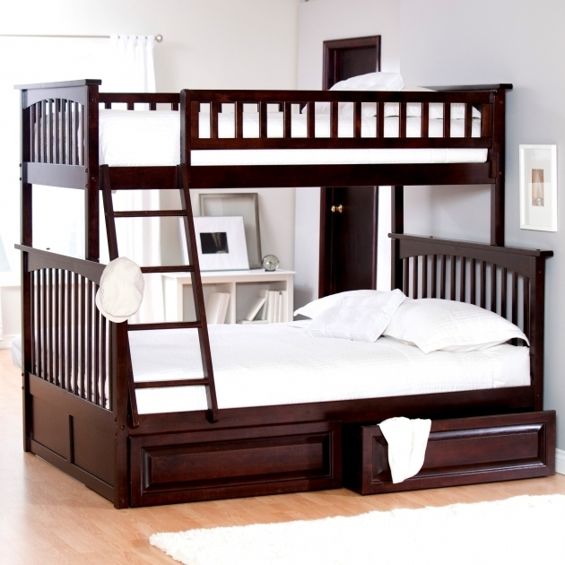 Bunk Bed With Queen Size Bottom Brown Wooden Bedroom