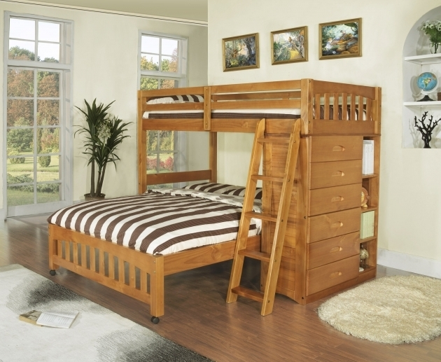 Bunk Bed With Queen Size Bottom Wooden Ideas Picture 02