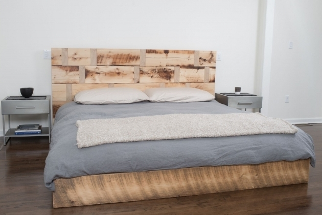 Handmade Platform Bed Reclaimed Wood King Headboard Design Photo 25