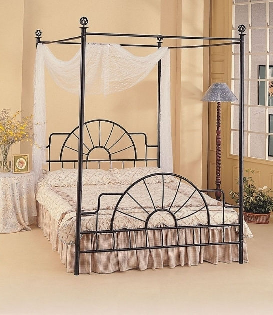 Black Wrought Ironmetal Canopy Bed Frame Queen With White