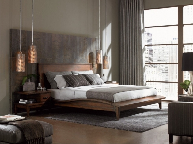 Modern Bedroom With Gray Wood Headboard And Low Pendant Lamps Picture 33