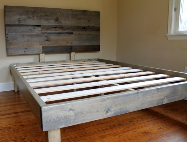 Reclaimed Wood Bed Weathered Gray Wood Headboard Minimalist Photos 25