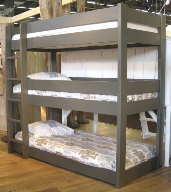 Triple Wood Bunk Bed Ladder Only With Extra Tall Ladder In Gray Photos 66