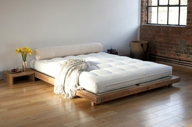 unpolish wooden cheap king size platform bed with grey shikibuton brown floor mattress bed bedroom design and furniture photos 06