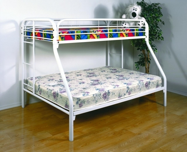 White Twin Over Full Bunk Bed With Mattress Included Metal Bung Beds Ideas Images 21