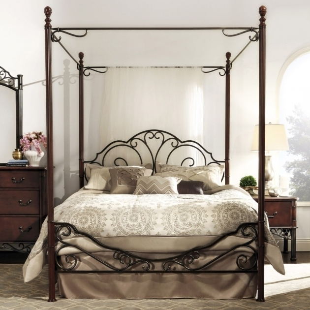 Wrought Iron Metal Canopy Bed Frame Queen Picture 70