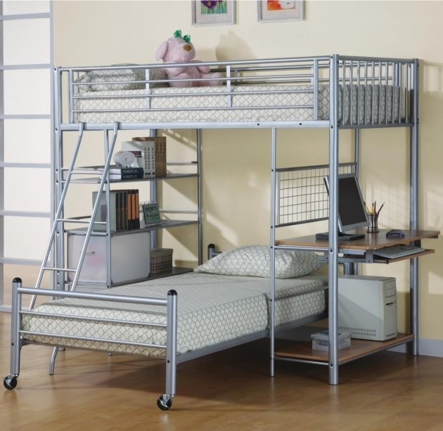 bunk bed with desk cheap plans underneath woodworking workbench beds image 19
