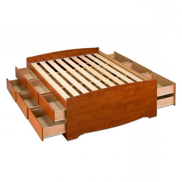 Cherry Queen Platform Bed Frame With Storage Prepac Furniture Pictures 37