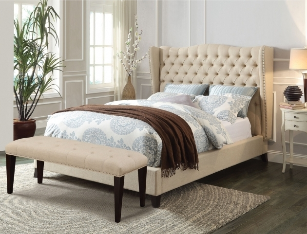 Fabric Wood Headboard Cal King Platform Bed Frame Photo 74