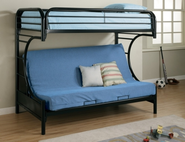Fordham Metal Bunk Beds Twin Over Full With Futon And Black Metal Platform Bedroom Pictures 36