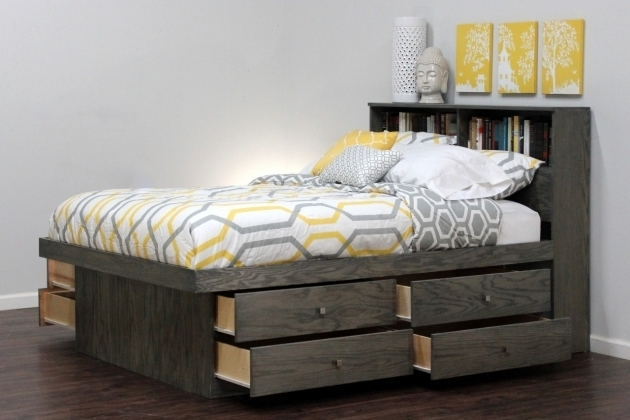 Gray King Size Platform Bed With Drawers And Bookcase Headboard  Images 81