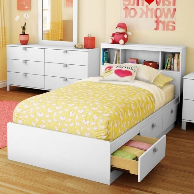 Kids Full Size Headboard Laminate Composite Wood Construction Pure White Finish 3 Open Shelves  Pictures 31