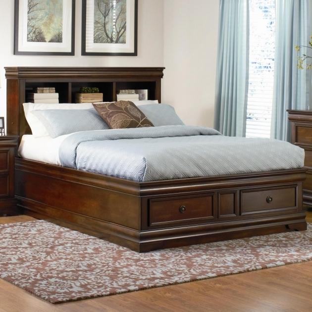 King Size Platform Bed With Drawers And Bookcase Headboard Image 56