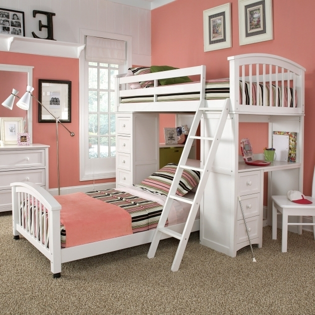 Little Girl Twin Over Full Teenage White Bunk Bed With Desk Cheap With Storage Built In Ikea Photos 19