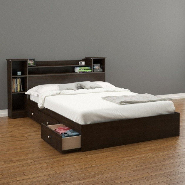 Queen Platform Bed Frame With Storage Pedestal Drawers Image 07