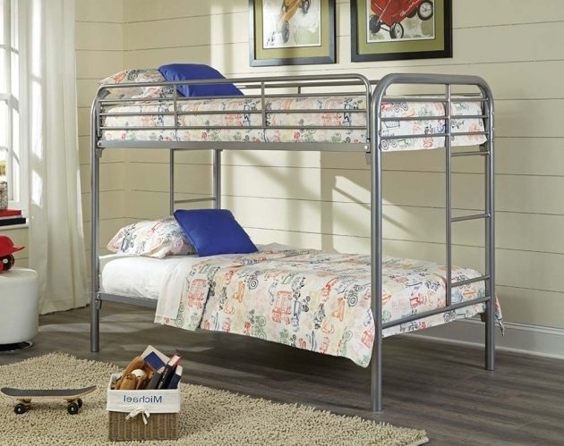 Silver Metal Bunk Beds Twin Over Full Kids Furniture Photos 44