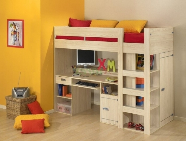 Simple Wooden Bunk Bed With Desk Cheap Underneath And Storage Image 04
