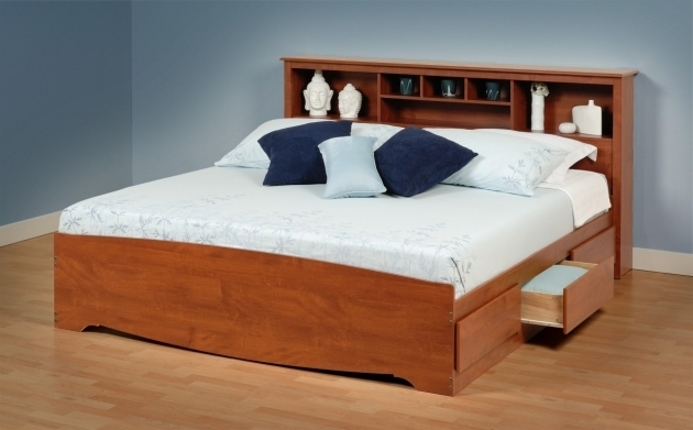Solid Wood Cal King Platform Bed Frame With Drawer And Headboard Storage Images 57