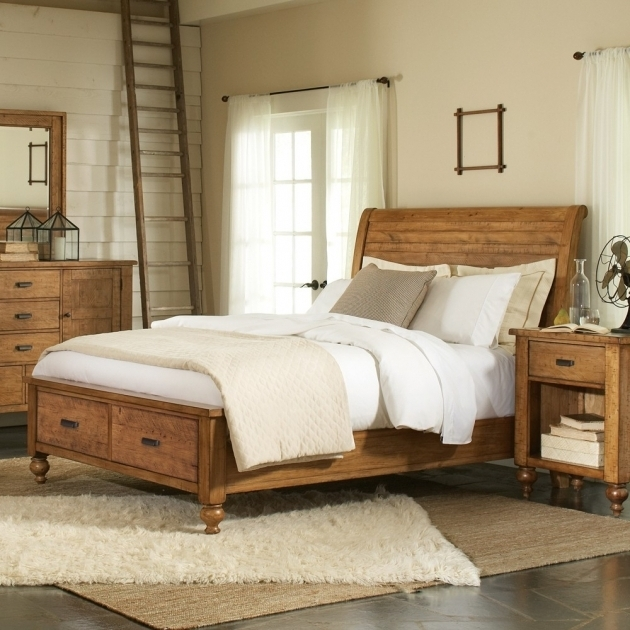 Summerhill Wood Sleigh Storage Bed Can By Rustic Pine Riverside King Size Platform Bed With Drawers Image 54