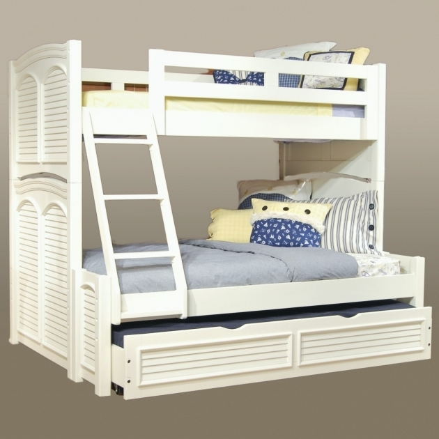 Full Over Queen Bunk Bed White With Stairs  Photo 15