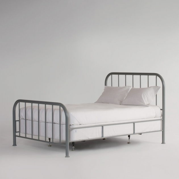 Gray Twin Metal Bed Frame Headboard Footboard With Striped Combined By White Bed Sheet And Pillows Photos 00