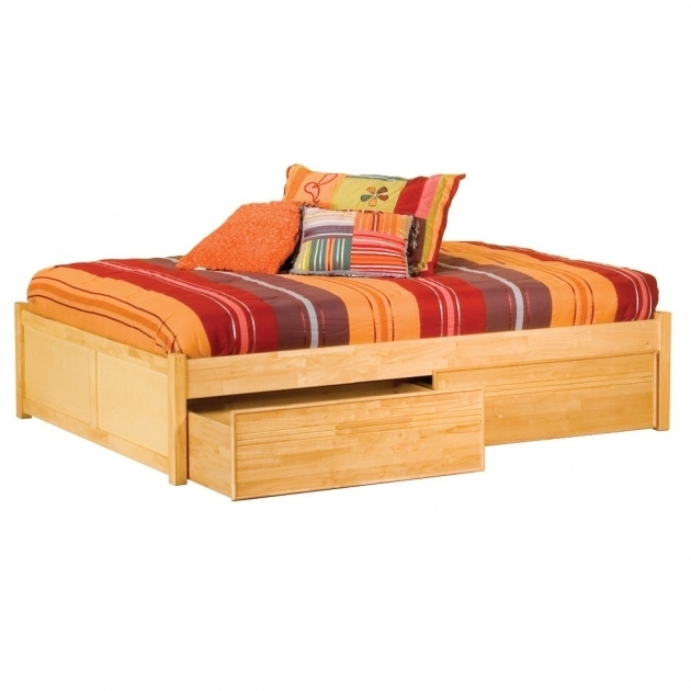 Wooden Storage Bed Solid Hardwood Construction 2 Drawer Full Size Platform Bed With Drawers