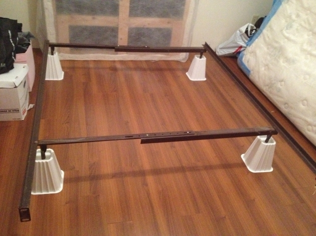 Metal Bed Frame Risers On White For Extra Under The Bed Storage Photos 10