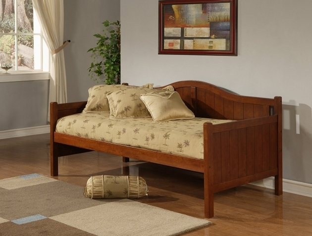 Brown Small Wood Daybed Frame With Pillow For Living Room Corner Design Pics 39