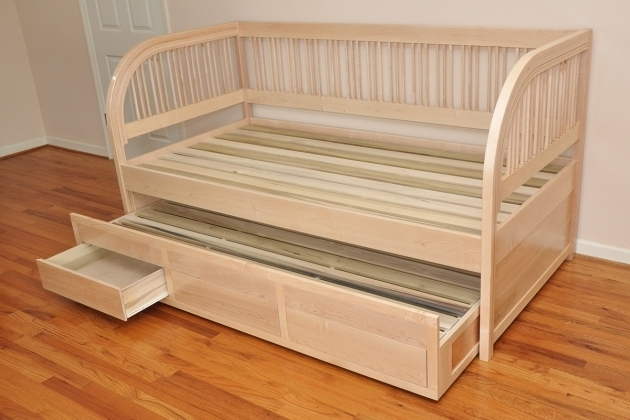 Cream Polished Wood Daybed Frame With Storage Underneath Photo 92